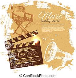 ilustração, fundo, filme, esboço, mão, desenhado