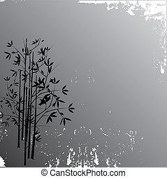 ilustração, fundo, grunge, bambu