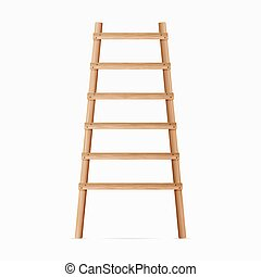 Ilustração, fundo, madeira, escada, isolado, realístico, vetorial, branca