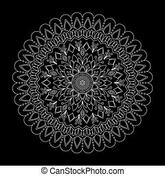 ilustração, fundo, vetorial, pretas, floral, mandala
