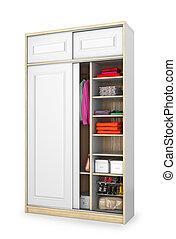 ilustração, gabinete, doors., branca, deslizamento, 3d
