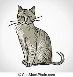 ilustração, gato