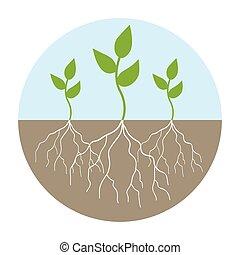 ilustração, gráfico, jovem, árvores