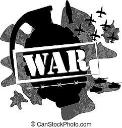 ilustração, guerra, granada, desenho