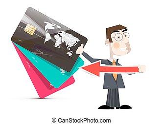 ilustração homem, com, cartões crédito, vetorial