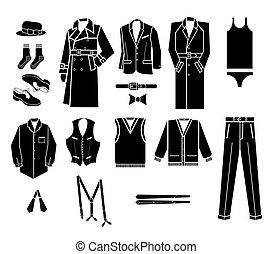 ilustração homem, moda, vetorial