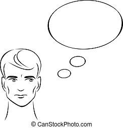 ilustração homem, thinking.