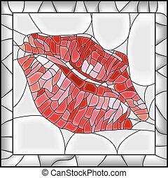 ilustração, imprint., lábio
