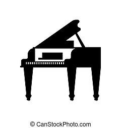 ilustração, instrumento musical, vetorial, pretas, piano grande, template., ícone