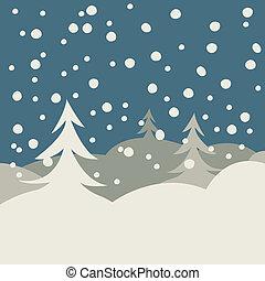 ilustração, inverno, cartão