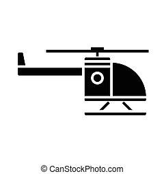 ilustração, isolado, sinal, vetorial, experiência preta, ícone, helicóptero