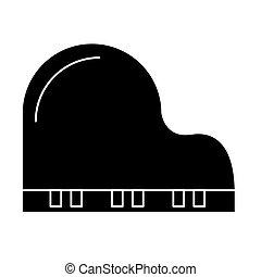 ilustração, isolado, sinal, vetorial, experiência preta, ícone, piano