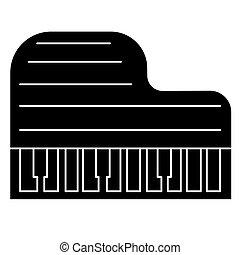 ilustração, isolado, sinal, vetorial, experiência preta, grandioso, ícone, piano
