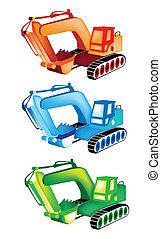 ilustração, jogo, escavador, coloridos, ícones