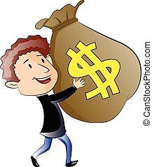 ilustração, jovem, saco, dinheiro, segurando, homem