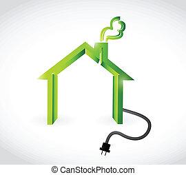 ilustração, lar, desenho, plugging, cabo