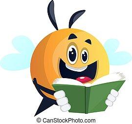 ilustração, livro, abelha, experiência., vetorial, branca, leitura