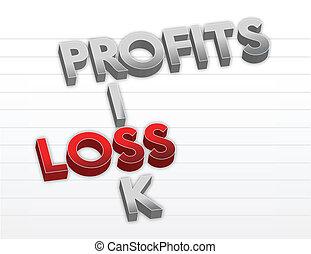 ilustração, lucros, perda, risco