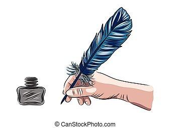 ilustração, mão, caneta, vetorial, segurando, pena