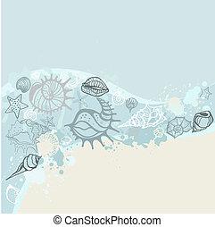 ilustração, mão, experiência., vetorial, mar, desenhado