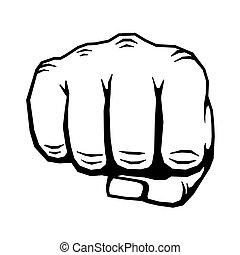 ilustração, mão, vetorial, punho apertado, perfurando