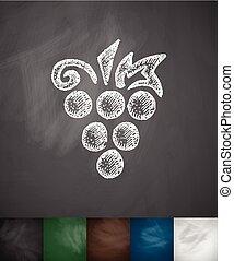 ilustração, mão, vetorial, uvas, desenhado, icon.