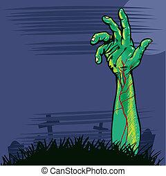 ilustração, mão, zombie, saindo, chão