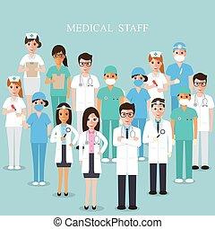 ilustração médica, team., vetorial, equipe funcionários hospital