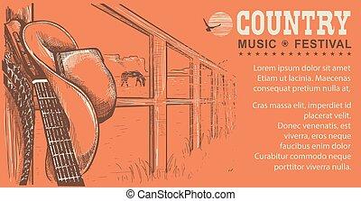 ilustração, música, chapéu, boiadeiro, ocidental, guitarra, país