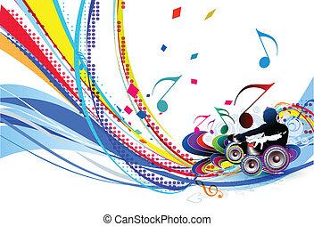 ilustração, música, fundo