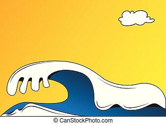 ilustração, mar, ondas