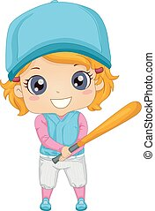 ilustração, menina, massa basebol, criança