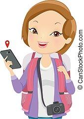ilustração, menina, turista, telefone
