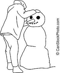ilustração, menino, linhas, fazer, fundo, boneco neve, doodle, vetorial, branca, mão, isolado, pretas, esboço, desenhado