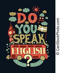 ilustração, modernos, desenho, inglês, apartamento, frase, falar, tu, hipster