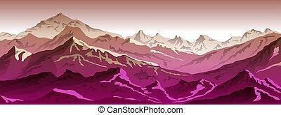 ilustração, montanhas, eps, 10, -, fundo, vista, cor-de-rosa, vetorial