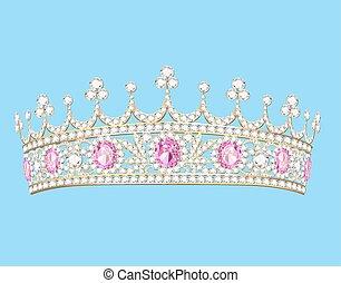 ilustração, mulheres, ouro, diadema, tiara, com, pedras...
