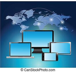 ilustração, mundo, desenho, rede, eletrônico
