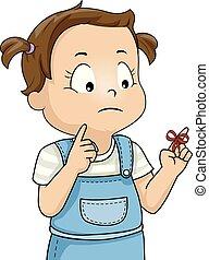 ilustração, nó, menina, lembrete, vermelho, criança