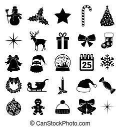 ilustração, natal, silhoue, ícone