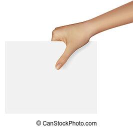 ilustração negócio, mão, vetorial, object., segurando