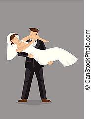 ilustração, noiva, noivo, nupcial, personagem, vetorial,...