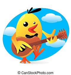 ilustração, pássaro, guitarra, vetorial, amarela, tocando