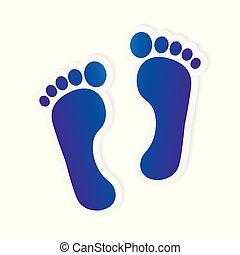 ilustração, pé, vetorial, nu, impressão, icon-