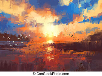 ilustração, pôr do sol, lago