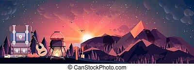 ilustração, paisagem, noturna