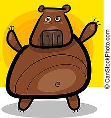 ilustração, pardo, caricatura, urso