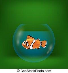 ilustração, peixe, mar, palhaço, coloridos