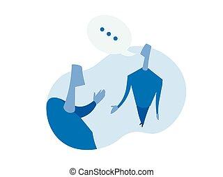 ilustração, pessoas., isolado, dois, conversação, vetorial, experiência., entre, branca