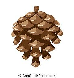 ilustração, pinho, cone.
